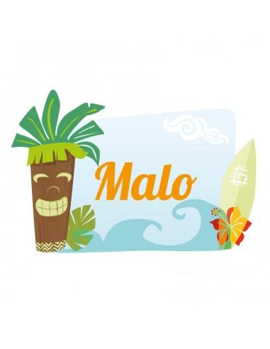 Stickers Prénom,Sticker Prénom: Hawaï cocotier