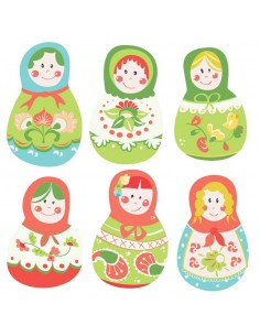 Stickers Russie,Stickers enfant: 6 poupées russes