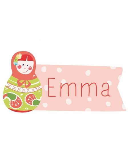 Stickers Prénom,Sticker Prénom: Poupée Russe rose