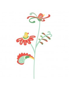 Stickers Russie,Sticker Russe: Fleur oiseaux