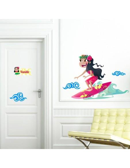 Stickers Monde,Sticker Hawaï: Surfeuse