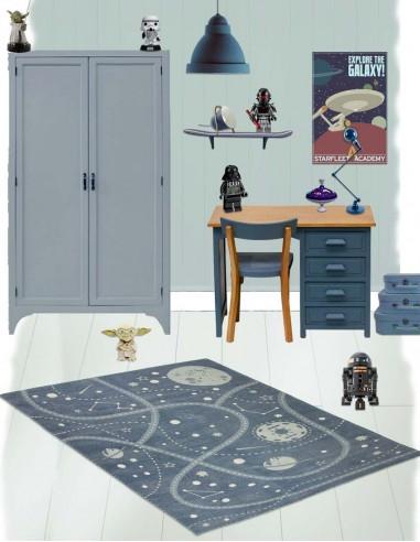 Tapis à thème,Tapis Enfant: Espace Little Galaxy