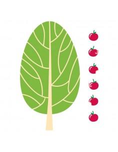 Stickers Forêt,Sticker forêt: Pommier et pommes