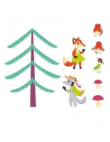 Stickers Forêt,Sticker Forêt: Frise Louve et Renarde