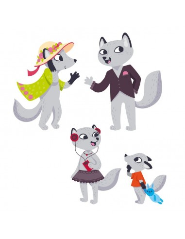 Stickers Forêt,Sticker forêt: Famille Loups