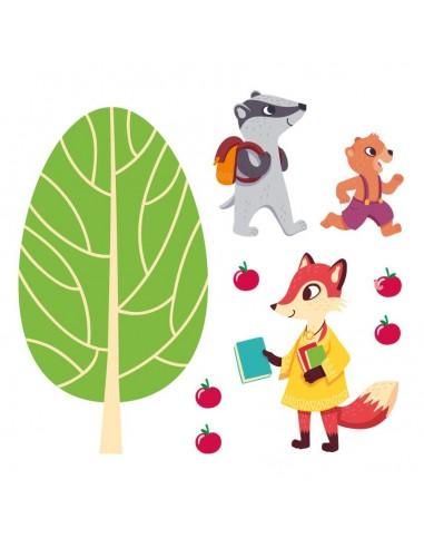 Stickers Forêt,Sticker forêt: Frise Écoliers