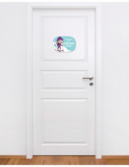 Plaques de porte,Plaque de Porte: Skieuse
