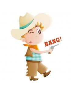 Stickers Indiens & Cowboys,Sticker Cowboy et son Pistolet Bang