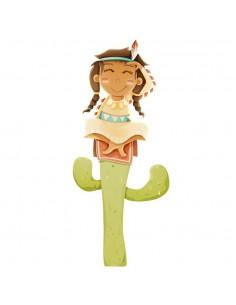 Stickers Indiens & Cowboys,Sticker Indienne sur son Cactus