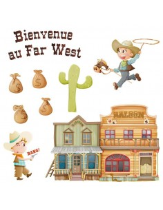 Stickers Indiens & Cowboys,Sticker Frise du Far West