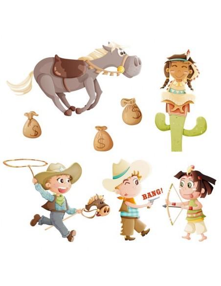 Stickers Indiens & Cowboys,Frise Western: Cowboys et Indiens