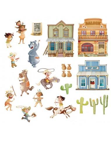 Stickers Indiens & Cowboys,Grande Planche de 22 Stickers