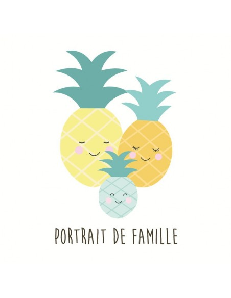 tableau portrait de famille ananas. Black Bedroom Furniture Sets. Home Design Ideas