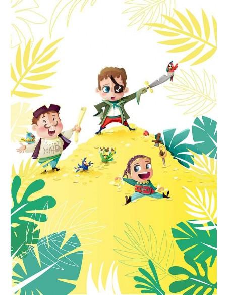 Housse de Couette Enfant,Housse de Couette: Pirate Tropical