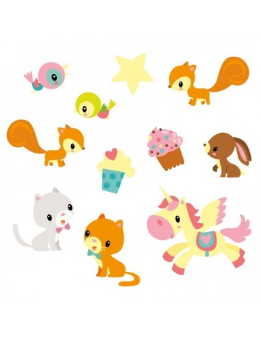 Stickers Fée & Princesse,Stickers Frise: Animaux de la Féérie