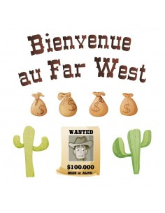 Stickers Indiens & Cowboys,Sticker Frise: Bienvenue au Far West
