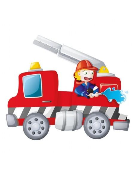 Stickers Pompier,Sticker Camion & son Soldat du Feu