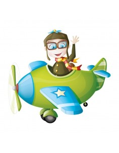 Stickers Voiture & Transports,Sticker Transport: Avion & Pilote