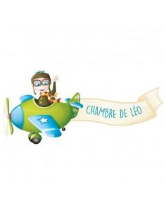 Stickers Prénom,Sticker Prénom: Aviateur & Message