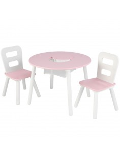 Tables- Chaises & Bureaux,Ensemble chaises et table ronde rose