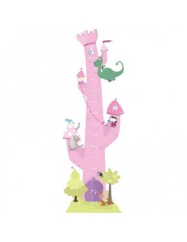 Stickers Fée & Princesse,Sticker Toise Princesse Tour Rose