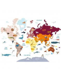 Stickers Monde,Grand Sticker: Carte du Monde Animaux
