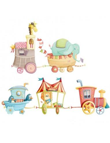 Stickers Voiture & Transports,Sticker Frise: Train du Cirque