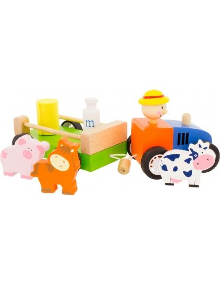 Jouet en bois,Tracteur ferme à Traîner