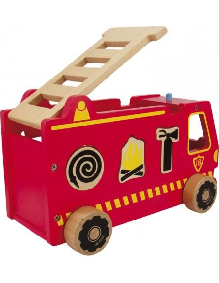Jouet en bois,Camion à Formes: Pompier