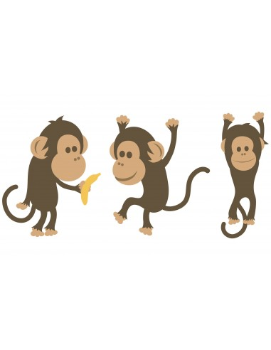 Stickers Jungle & Savane,Sticker enfant: 3 singes
