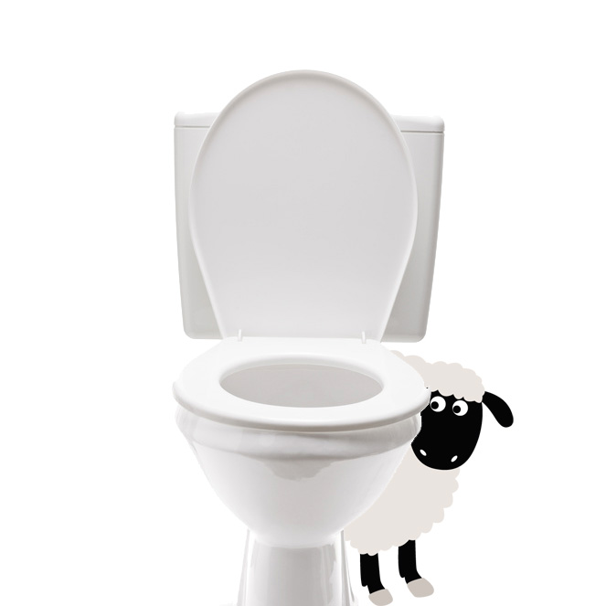 Sticker wc mouton