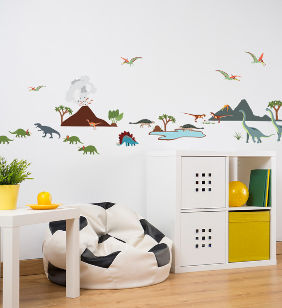 Chambre enfant petits stickers dinosaures