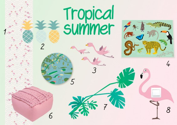 moodboard deco enfant exotique tropical summer